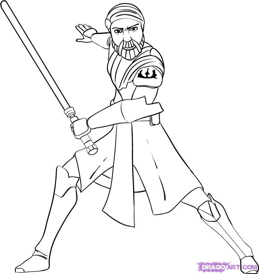 How To Draw Obi Wan Kenobi By Dawn Star Wars Drawings Horse