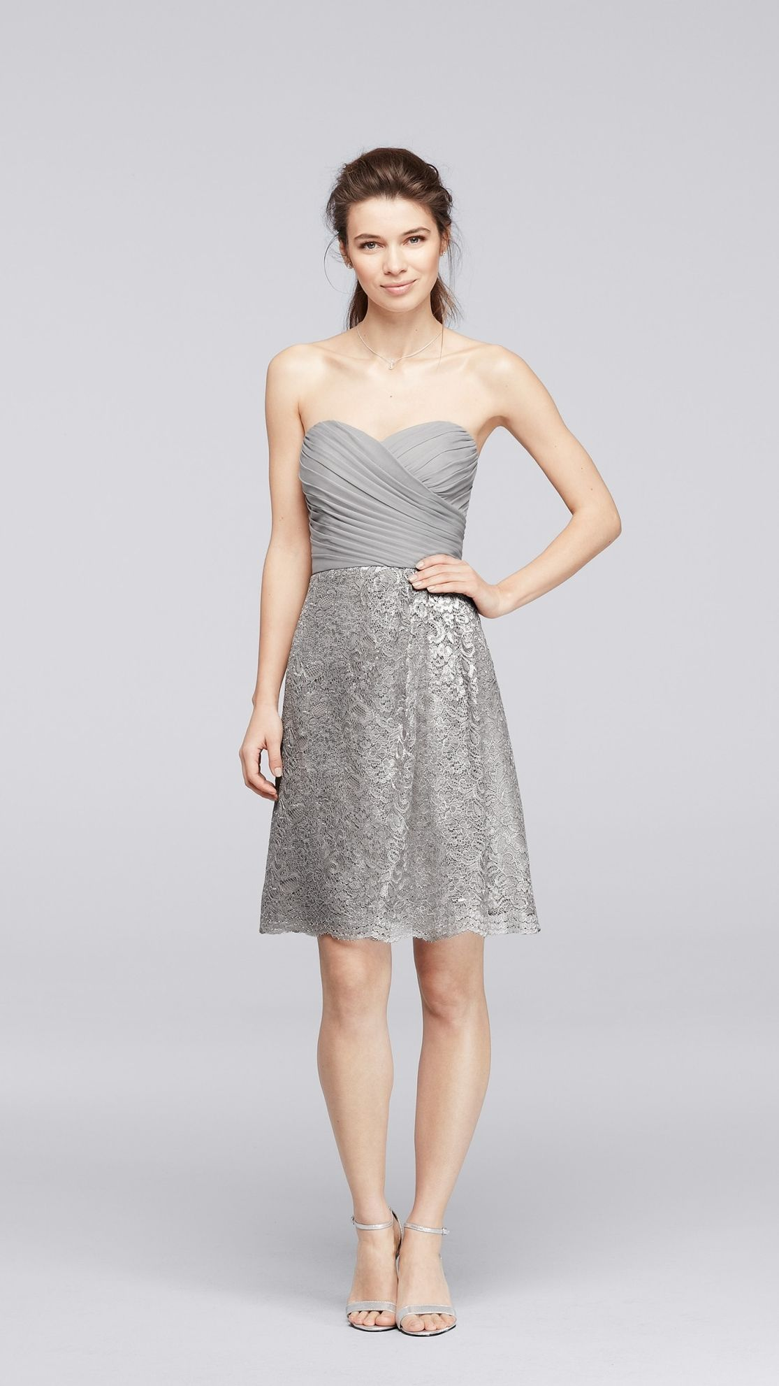 The perfect silver for your gray themed wedding mesh and lace