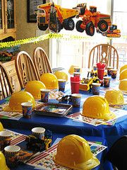 So great for a construction birthday. I'd even hang (carefully) real Tonka trucks as a chandelier.