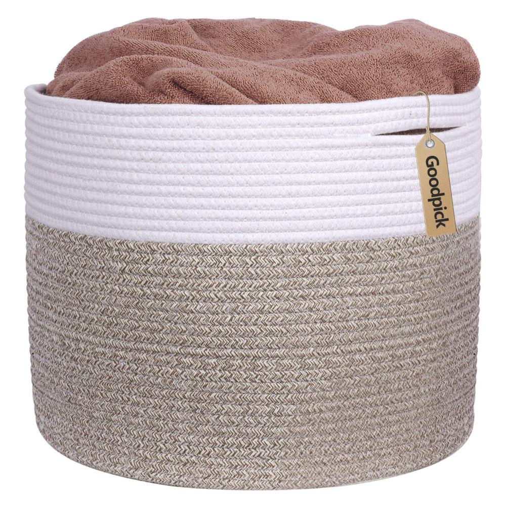 INDRESSME Large Cotton Rope Storage Basket Woven Blanket