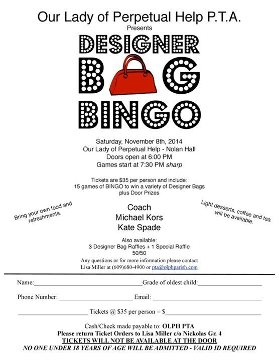 Pin by Eileen Aitken on Designer Bag BINGO | Bingo night ...