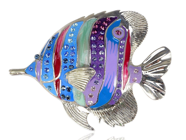 52ae1d3c1 Silvery Tone Multicolored Rhinestones Tropical Colorful Rainbow Fish Brooch  Pin - CU1143SYY0T - Brooches & Pins #jewellrix #Brooches #Pins #jewelry #  ...