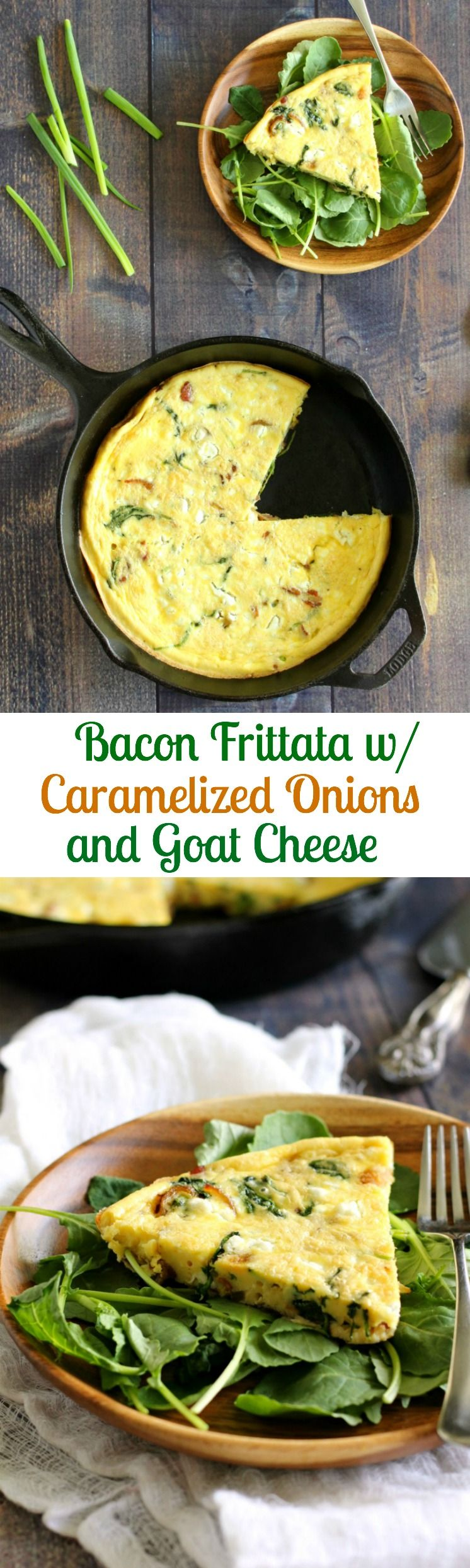 Bacon Frittata with Caramelized Onions & Goat Cheese (Low Carb & Primal) #baconfrittata