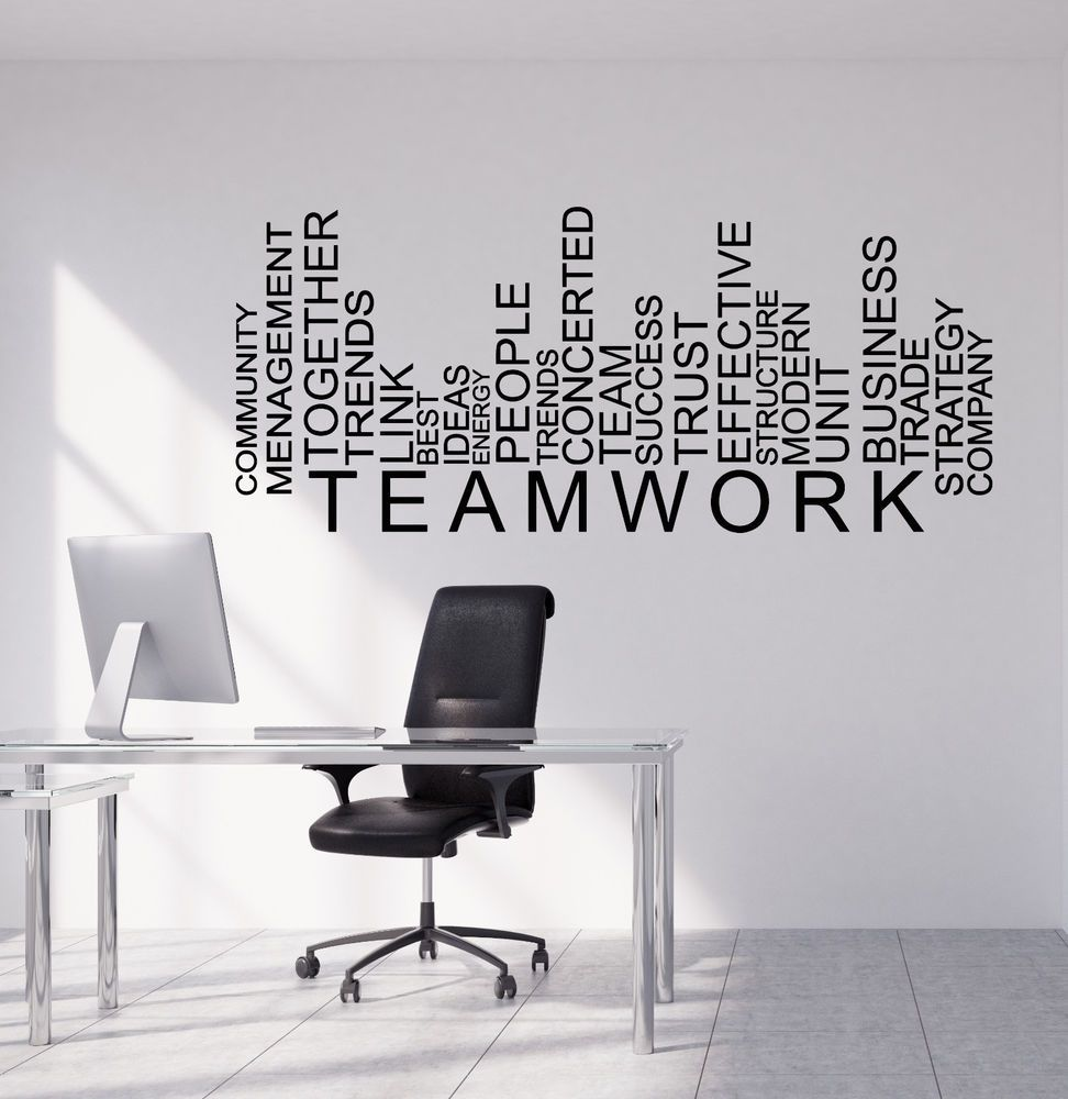 1f779f84033df Vinyl Wall Decal Teamwork Words Business Office Decor Stickers ...