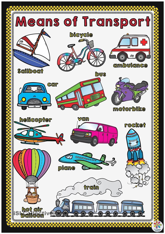 Means Of Transport Poster Tema Del Transporte