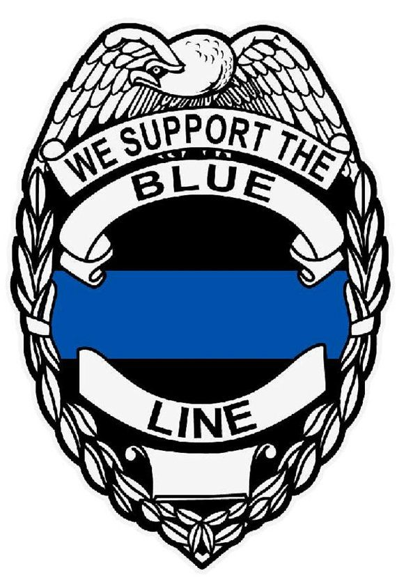 We Support The Blue Line Reflective Decal Sticker by TheStickerman