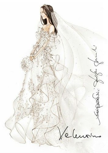 Hand Painted Wedding Dress 1 Wedding Dress Sketches Fashion Art Illustration Kate Middleton Wedding Dress
