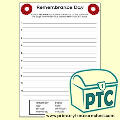 Remembrance Day Sentence Worksheet