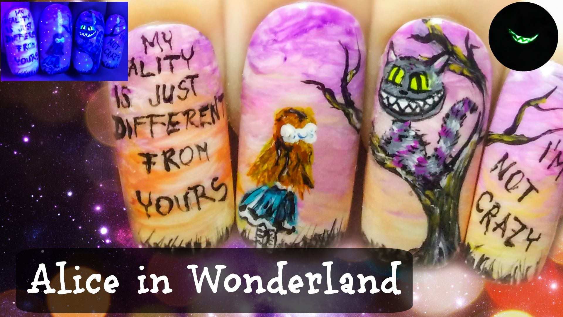Alice in Wonderland ⎮ The Cheshire Cat ⎮ Glow in the Dark Freehand Nail Video Tutorial