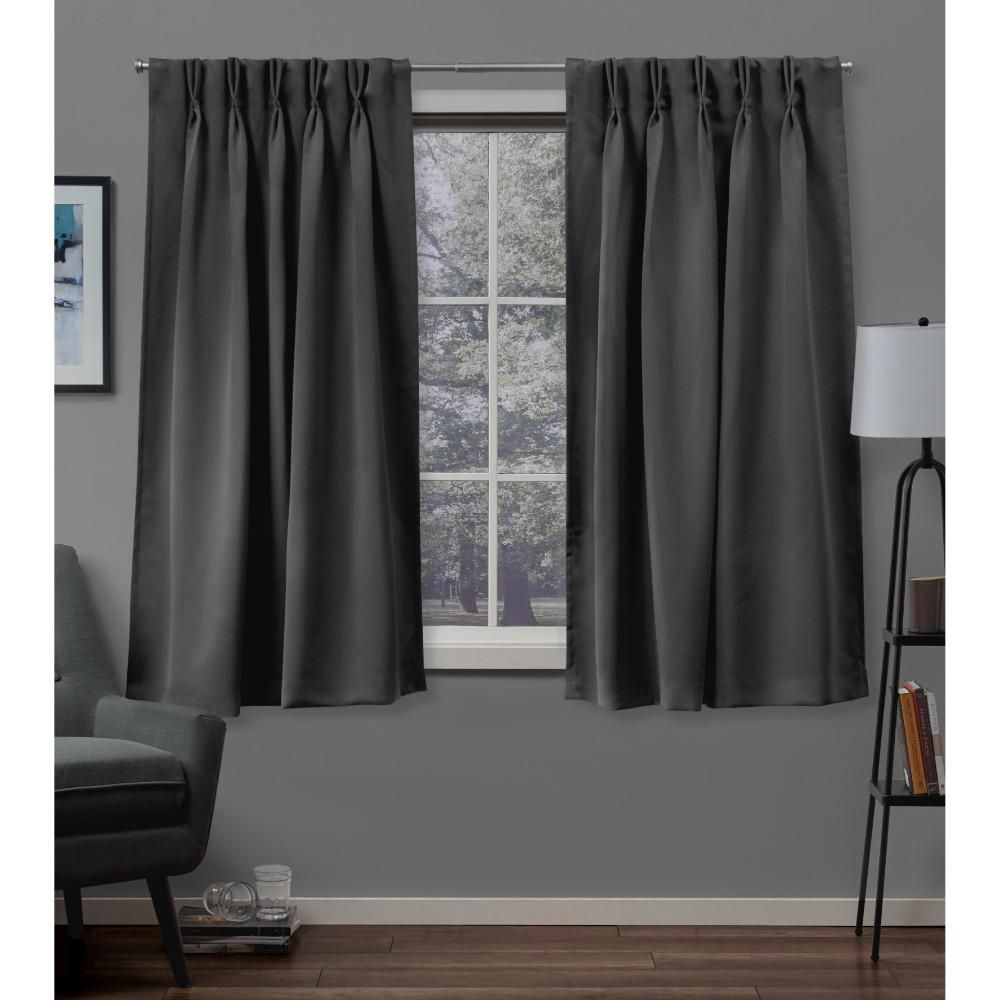 Exclusive Home Curtains Sateen Charcoal Grey Pinch Pleat Top Curtain Pair Pinch Pleat Curtains Home Curtains Pleated Curtains