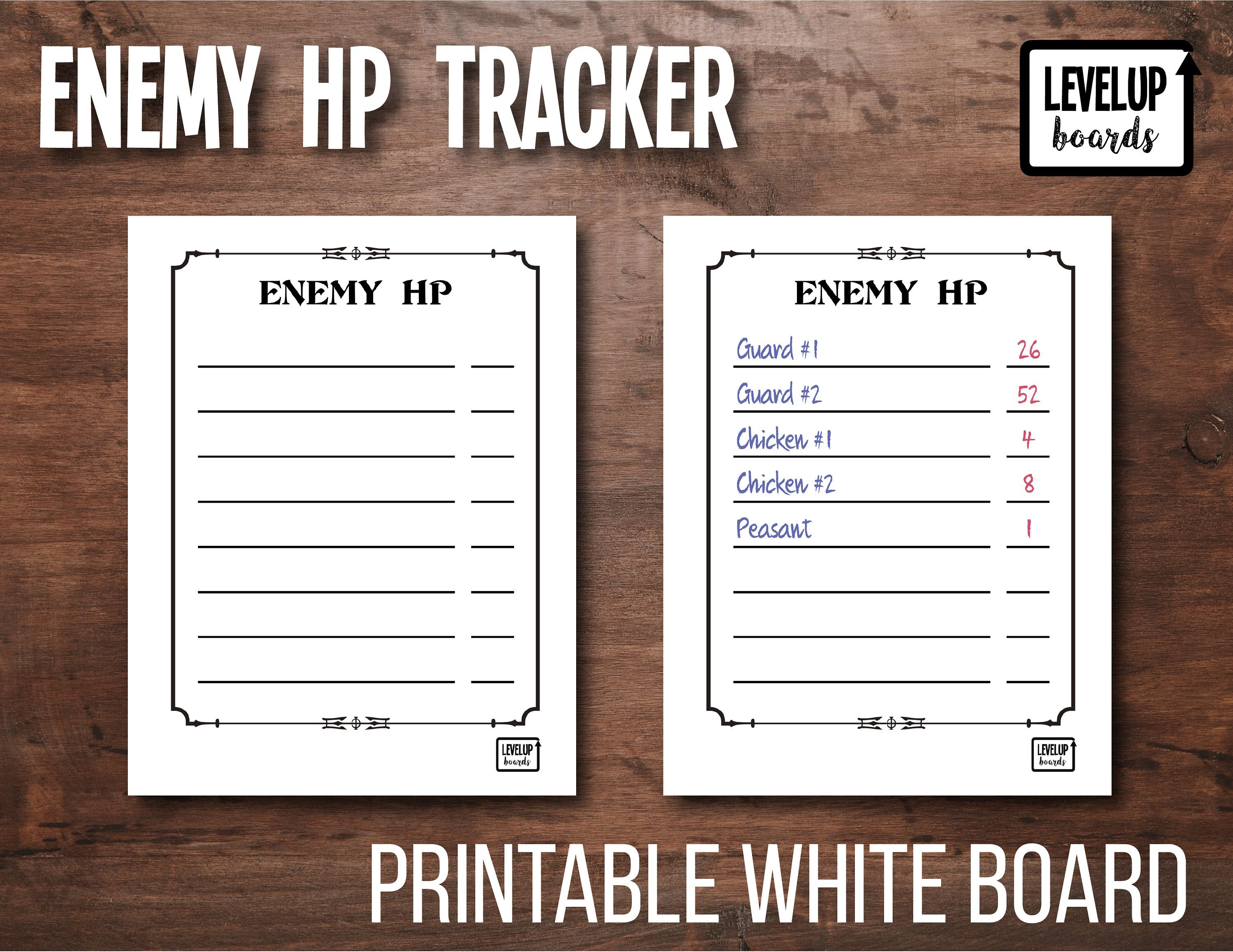 D D Enemy Combat Hp Tracker Dm Tool Printable Dry Erase Board White Board By Levelupboards On Etsy Dry Erase Board Dungeon Maps Dry Erase Markers