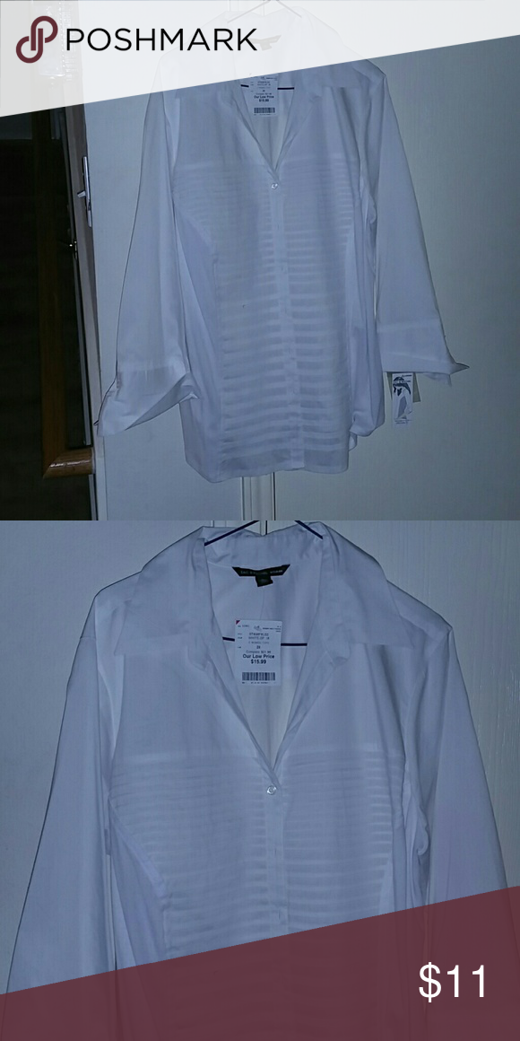 Nwt...Zac & Rachel woman long sleeve shirt. Nice dressy long sleeve white shirt sz. 2X. All my items are crossed posted on another site. Happy Shopping!!! Tops Button Down Shirts