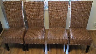 4 Set Rattan Esszimmerstühle Essgruppe Sitzgruppe Stuhl Hochlehner