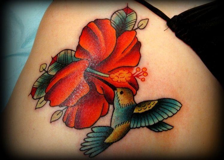 hummingbirdhibiscusflowertattoo Hibiscus tattoo
