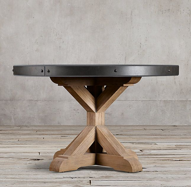 Salvaged Wood Concrete X Base Round Dining Table