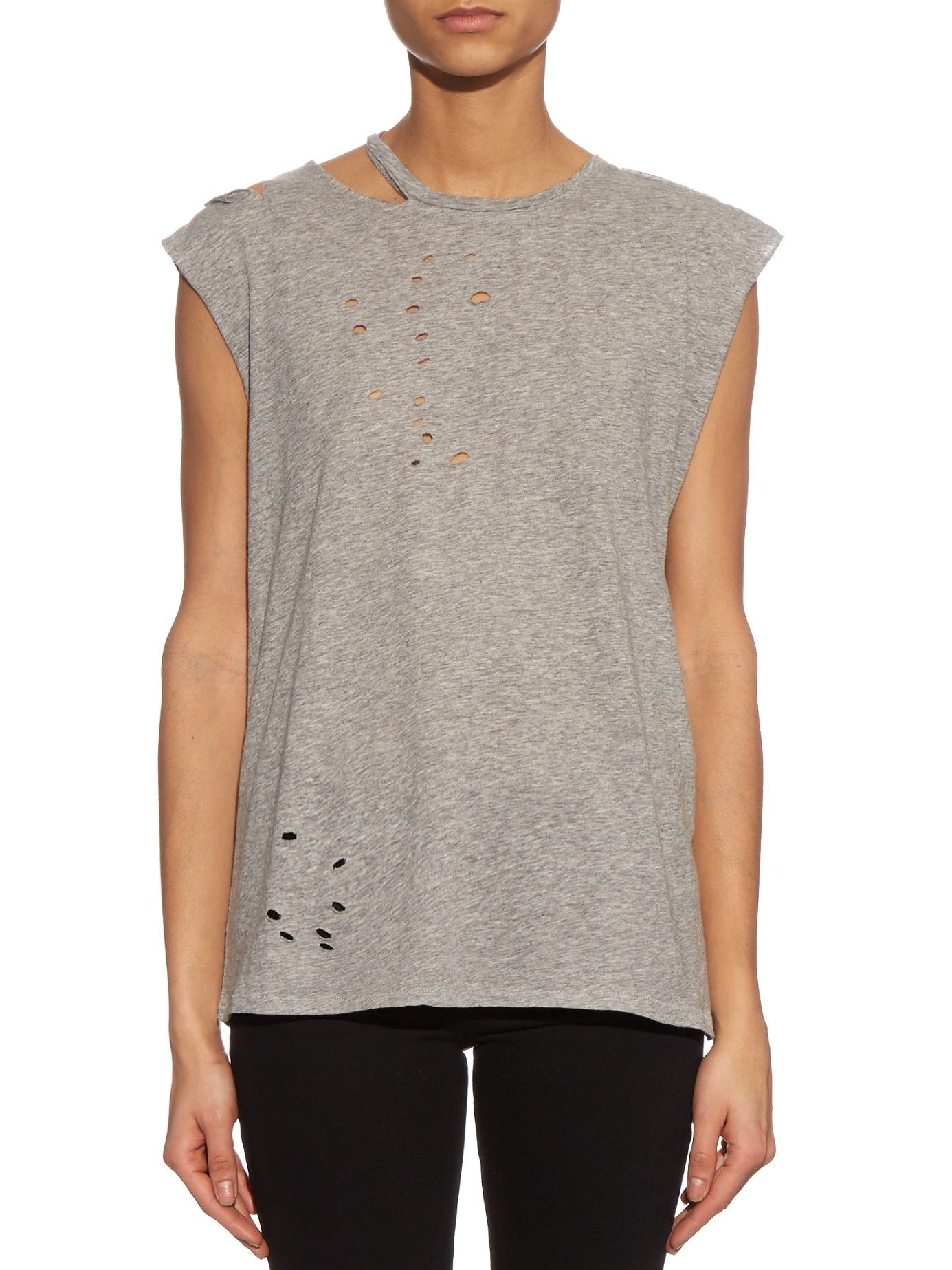 Distressed cotton and cashmere-blend tank top  | R13 | MATCHESFASHION.COM