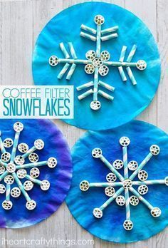 Coffee Filter, Straws and Pasta Snowflake Craft is part of Kids Crafts For School - Painted coffee filters, pinwheel pasta and paper straws come together to create awesome texture in this fun kids snowflake craft