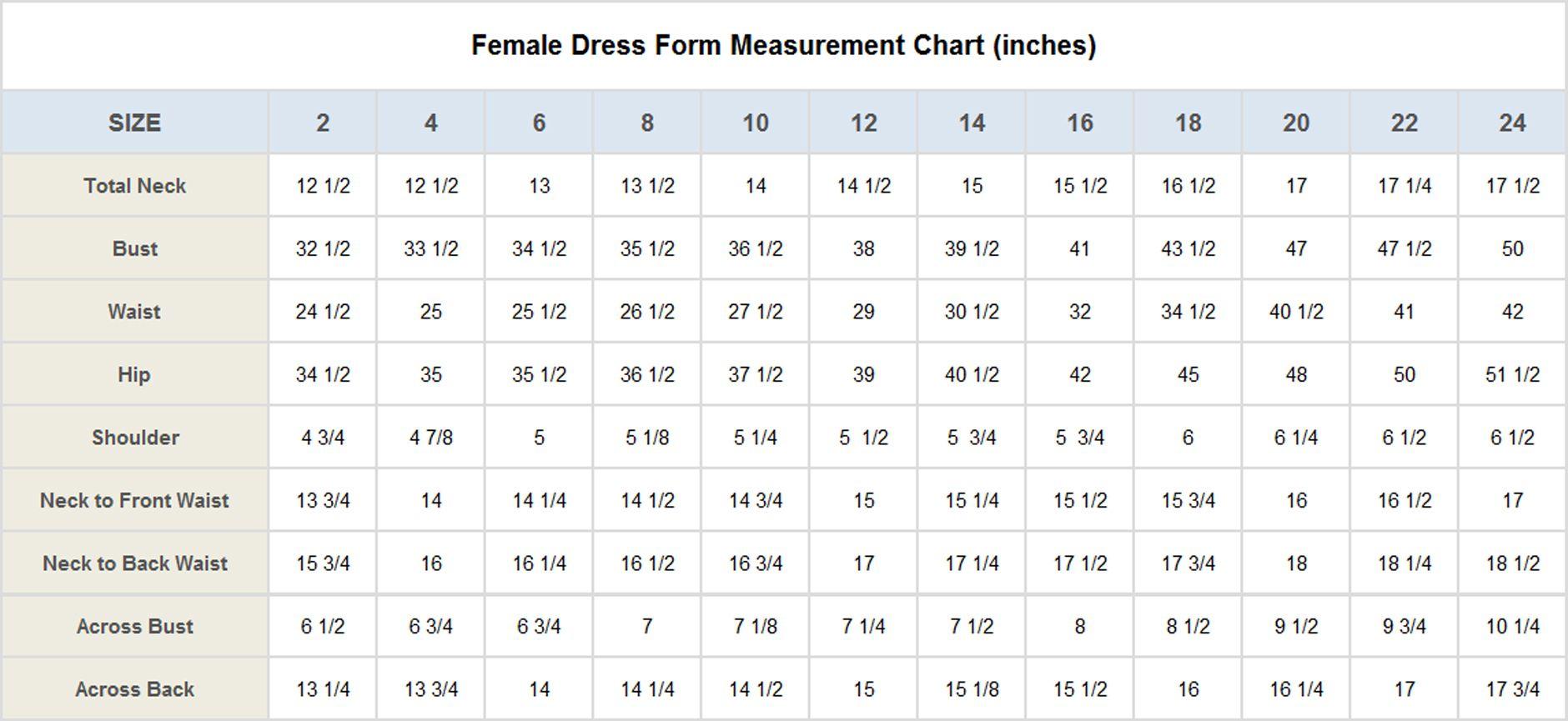 Size Measurements Dress Form Pattern Drafting Measurements