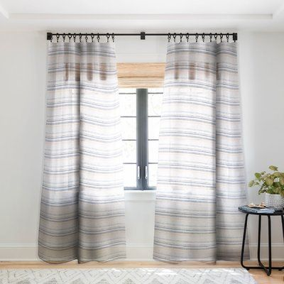East Urban Home Holli Zollinger French Linen Stripe Navy Sheer Pinch Pleat Single Curtain Panel With Images Panel Curtains Cool Curtains Insulated Curtains