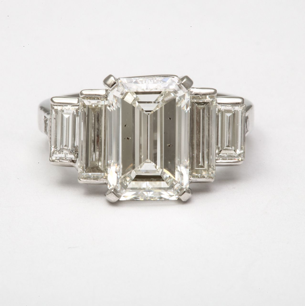 gia certified emerald cut & baguette engagement ring | emerald cut