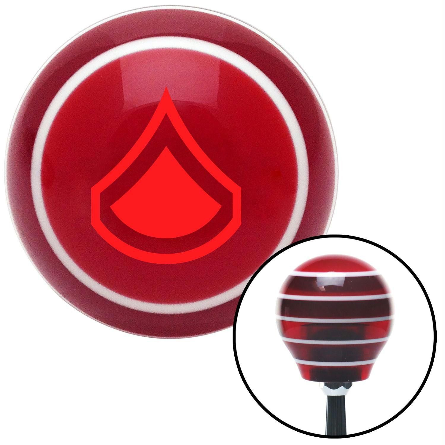 Red Private First Class Red Stripe Shift Knob with M16 x 15 Insert