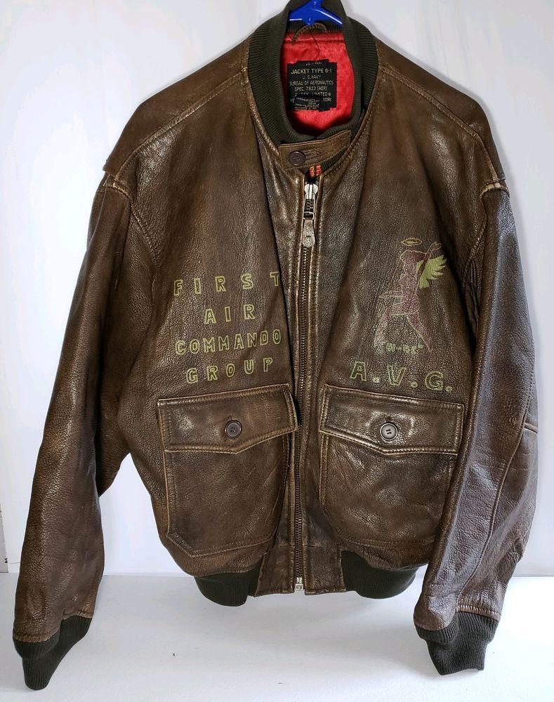 96183dfe34f AVIREX G-1 Leather Flight Bomber Jacket WWII Blood Chit Flying Tigers Top  Gun L  Avirex  FlightBomber
