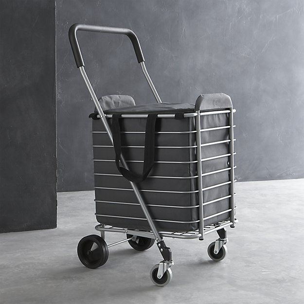 Polder ® Folding Shopping Cart with Insulated Grey Liner | Crates ...