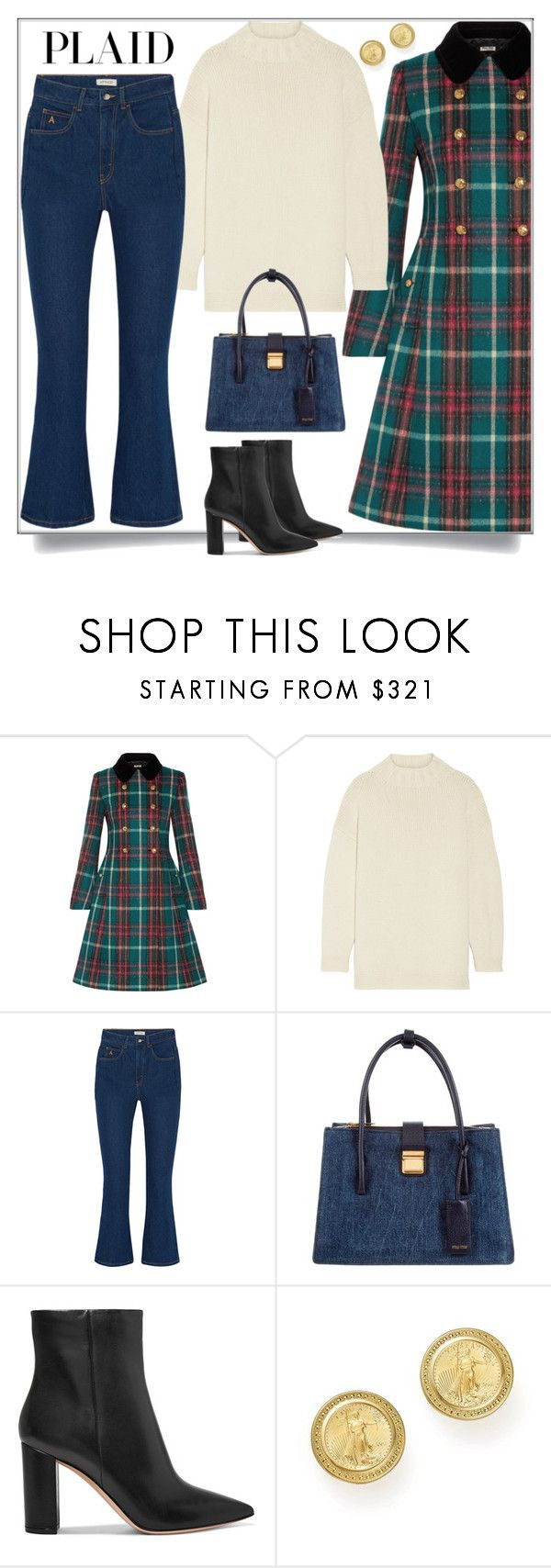 """""""Check It: Plaid"""" by shoaleh-nia ❤ liked on Polyvore featuring Miu Miu, Alexander McQueen, Attico, Gianvito Rossi and Bloomingdale's"""