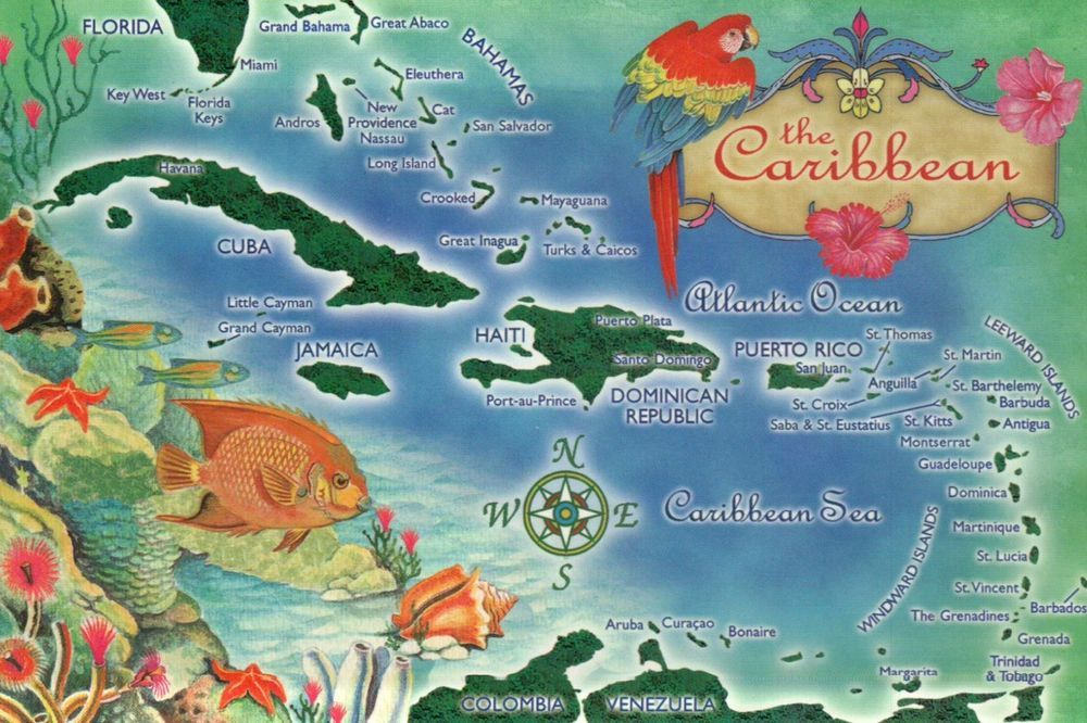 Map Of Florida And Cuba.Map Of The Caribbean Florida Cuba Haiti Jamaica Puerto Rico