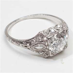 Antique Deco diamond Platinum Engagement Ring...vintage