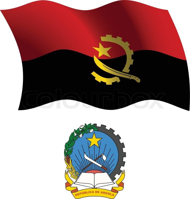 Angola wavy flag and coat of arms against white background, vector art illustration, image contains transparency | Vector | Colourbox on Colourbox