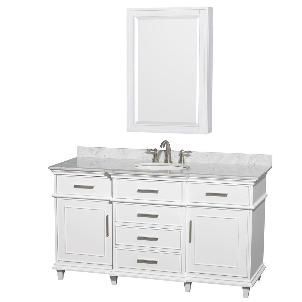 Wyndham Collection Berkeley 60 In Vanity In White With Marble
