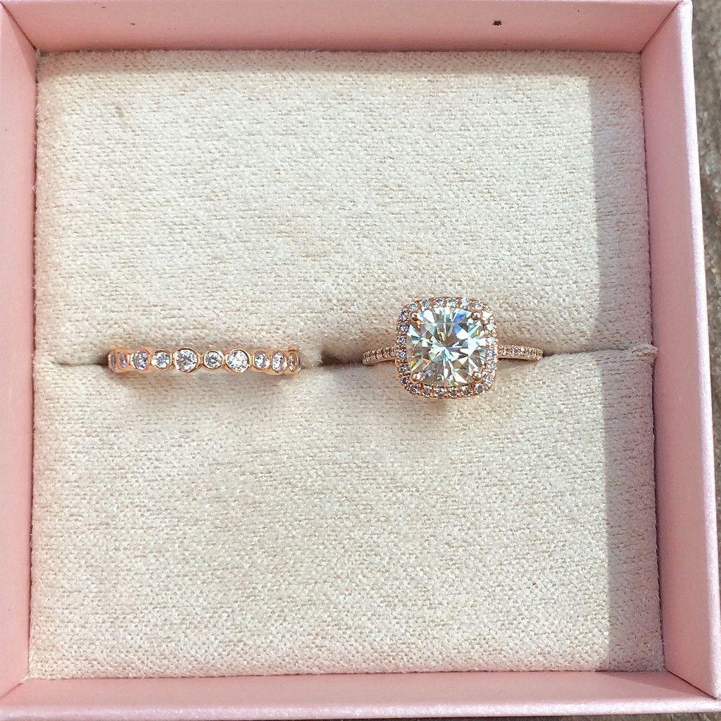 K rose gold cushion cut moissanite engagement ring u old time