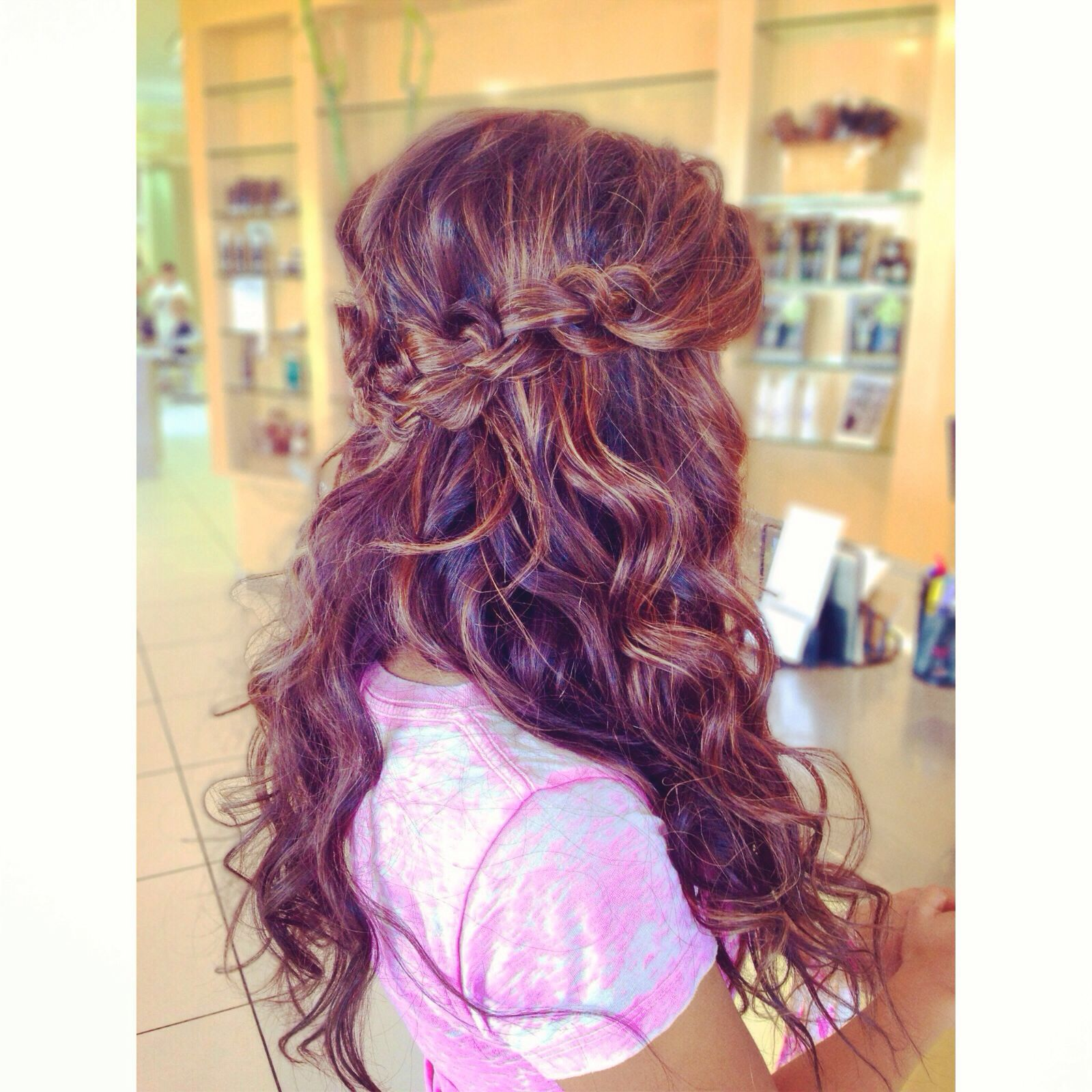 Long hair updo with beachy waves and Chinese staircase ...