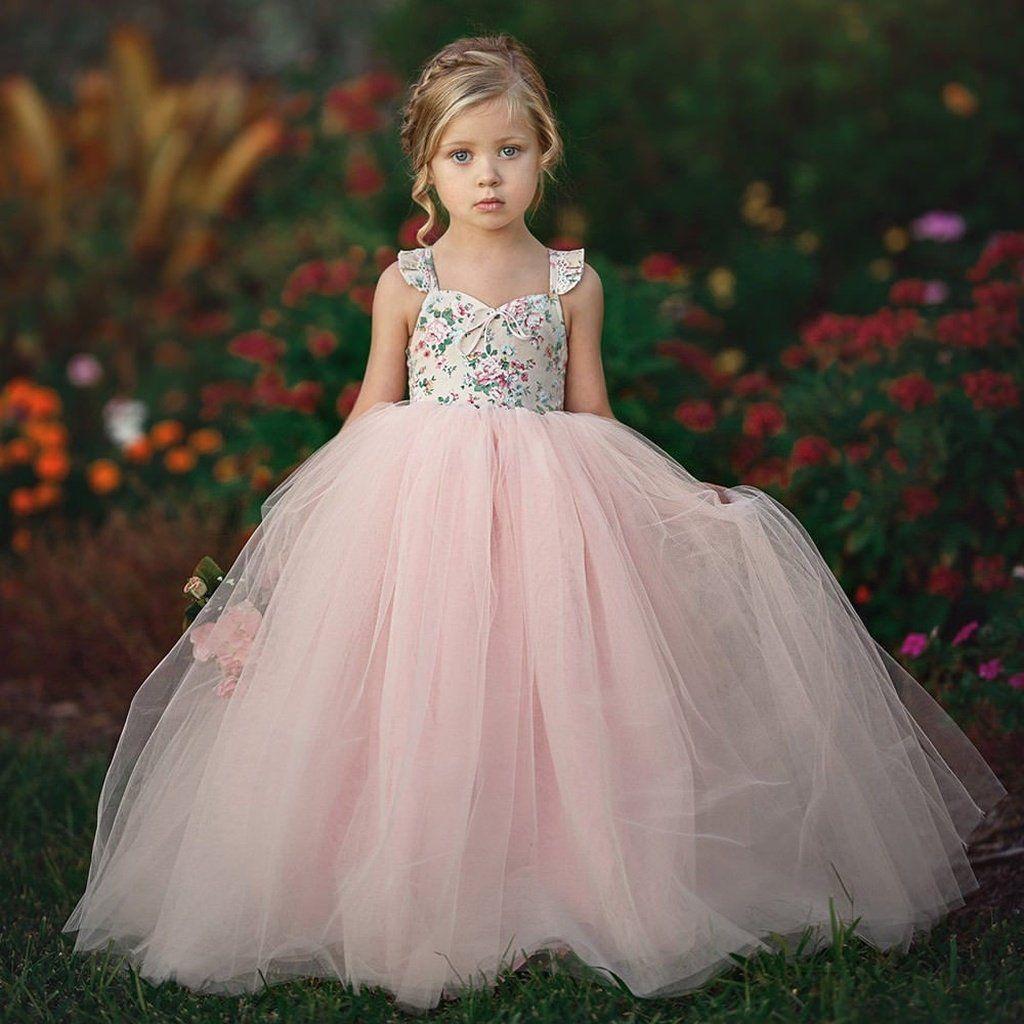 Dress kid baby girl party dresses formal flower princess tutu wedding bridesmaid