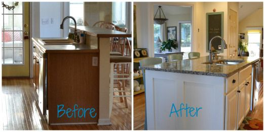 Converting A Two Tier Island Into A One Level Island Kitchen Redesign Countertop Makeover Kitchen Inspirations