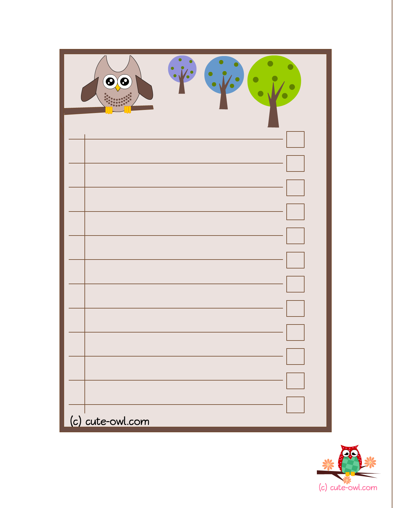 Cute Owl To Do Lists  For The Love Of Owls    Owl
