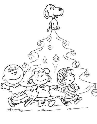 Charlie Brown Christmas Tree Coloring page | Snoopy Coloring Pages ...