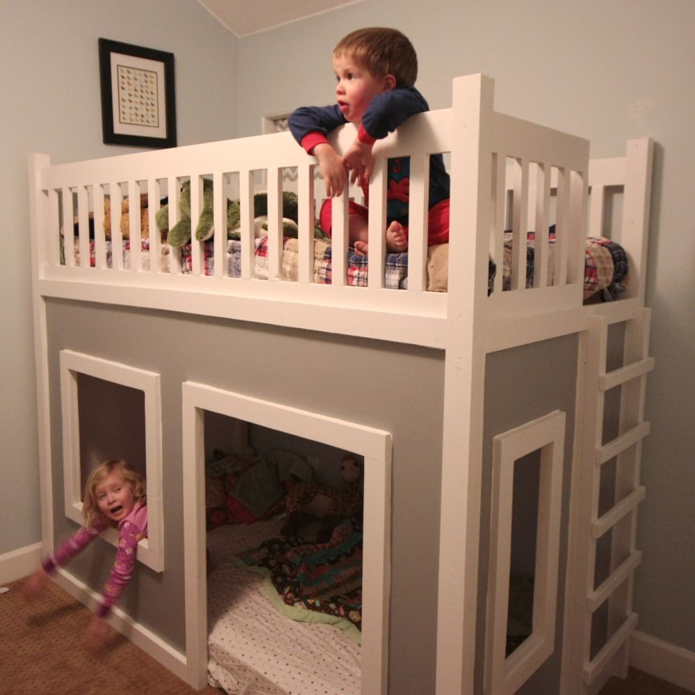 Diy playhouse loft or bunk bed so cute wish me and for Toddler bunk beds