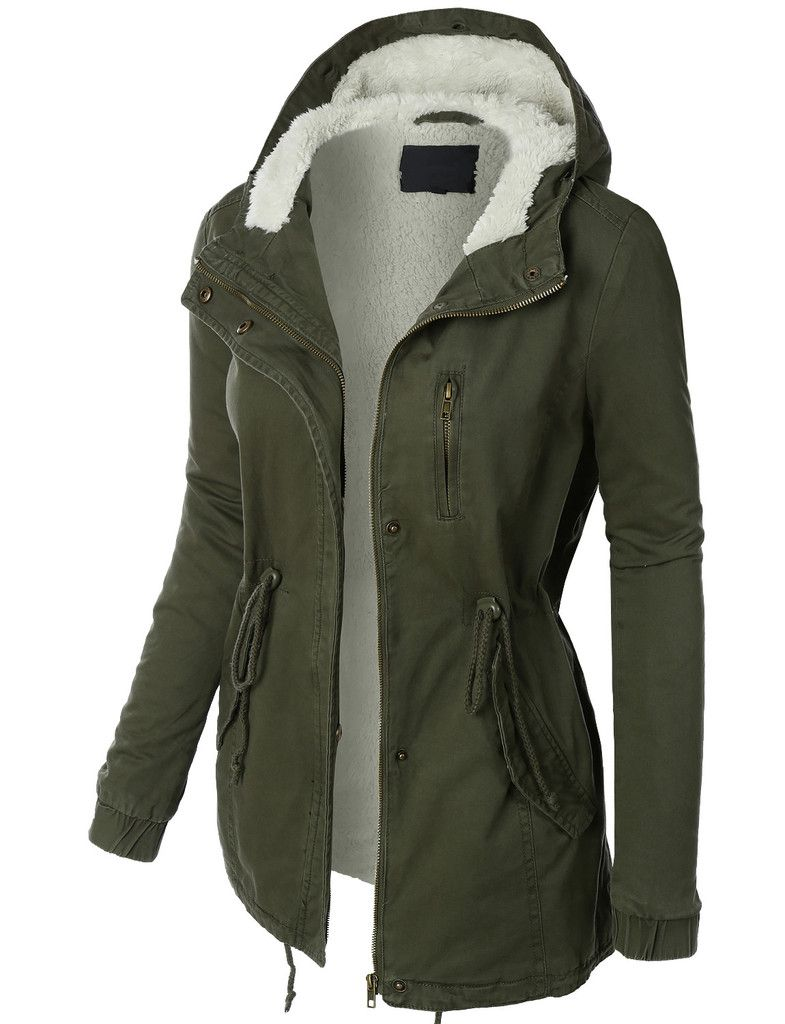 Womens Sherpa Lined Anorak Parka Jacket with Hoodie | Military ...