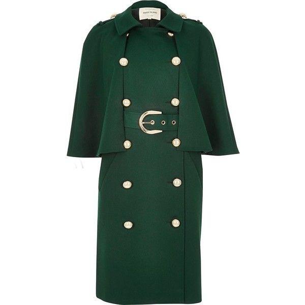 Dark green cape coat