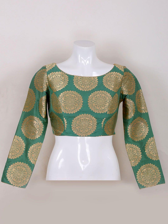 c4f3da24bd03a Green Silk Ready Made Blouse. brocade blouse
