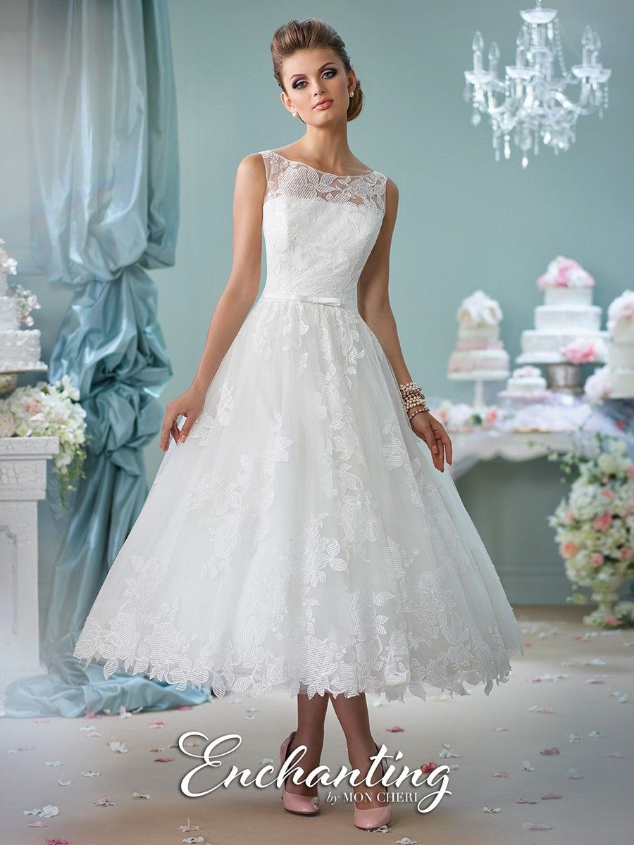 Enchanting by Mon Cheri 116136 is a tea-length wedding or reception ...