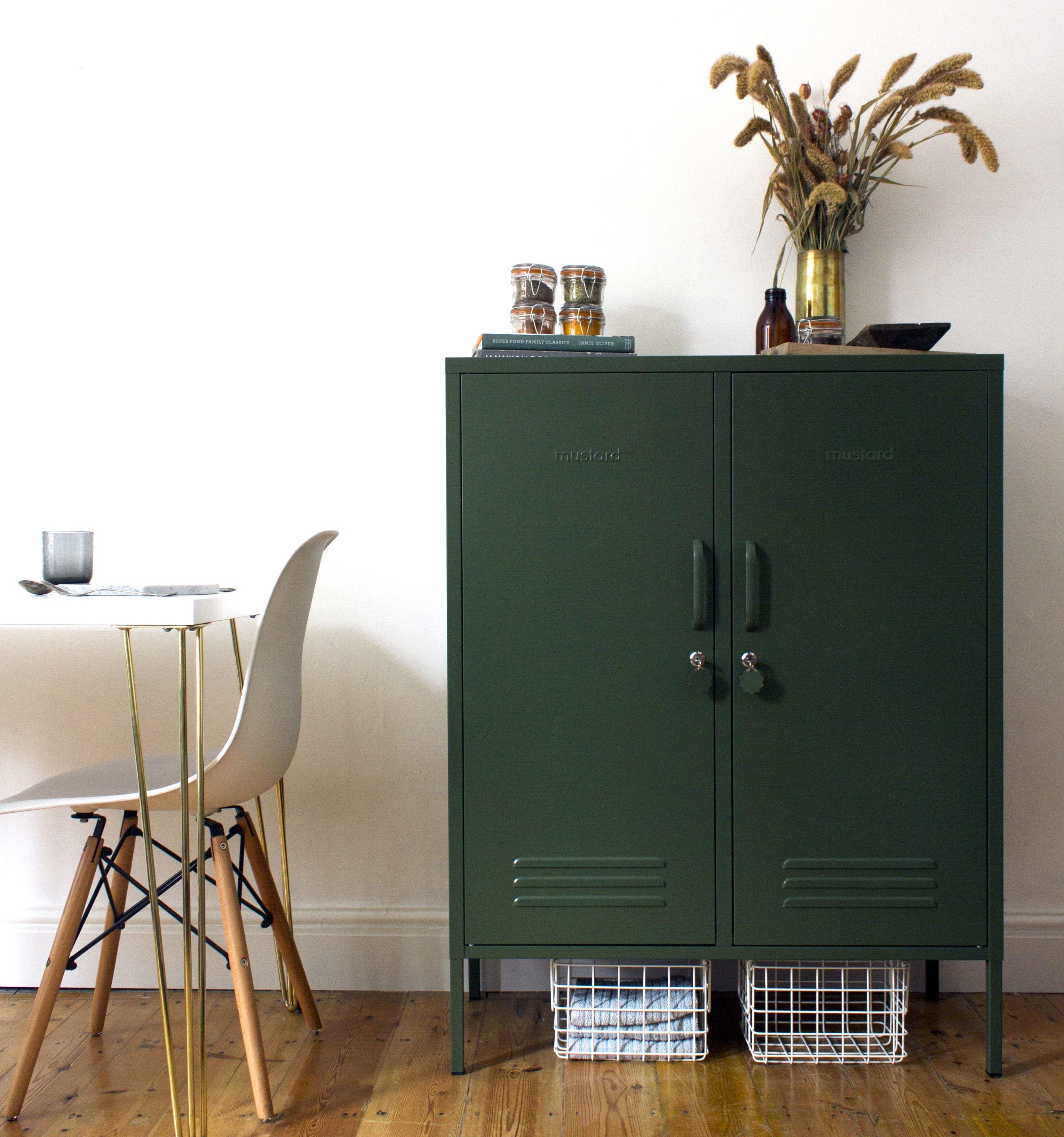 The Midi in Olive Metal lockers, Tall storage