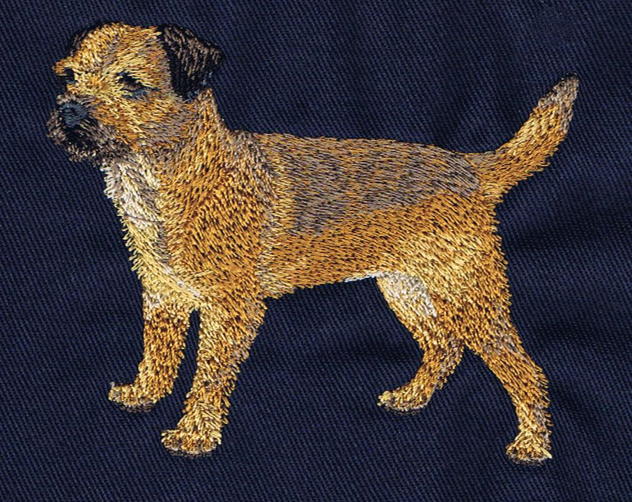 Border Terrier design with beautiful rich colours and detail. Available on t-shirts, sweatshirts, towels, tote bags ranging in price from $24 - $65. info@ruffwooddesign.com or visit: http://www.ruffwooddesign.com