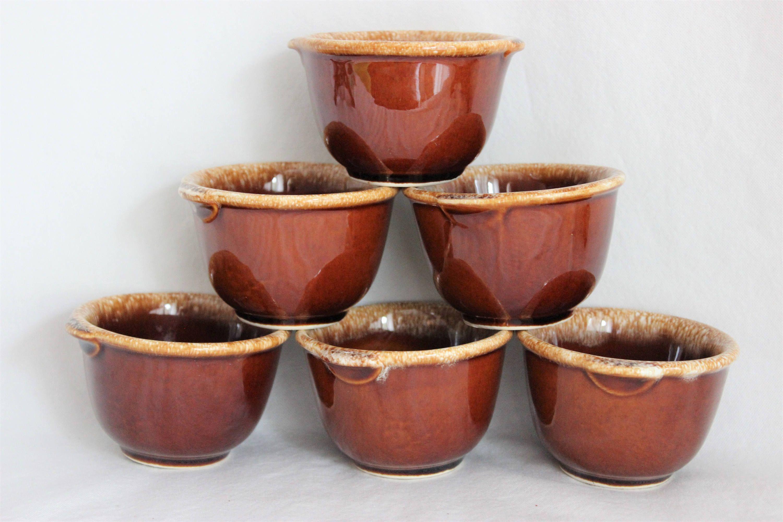 Vintage Brown Stoneware Custard Cups Set of 2