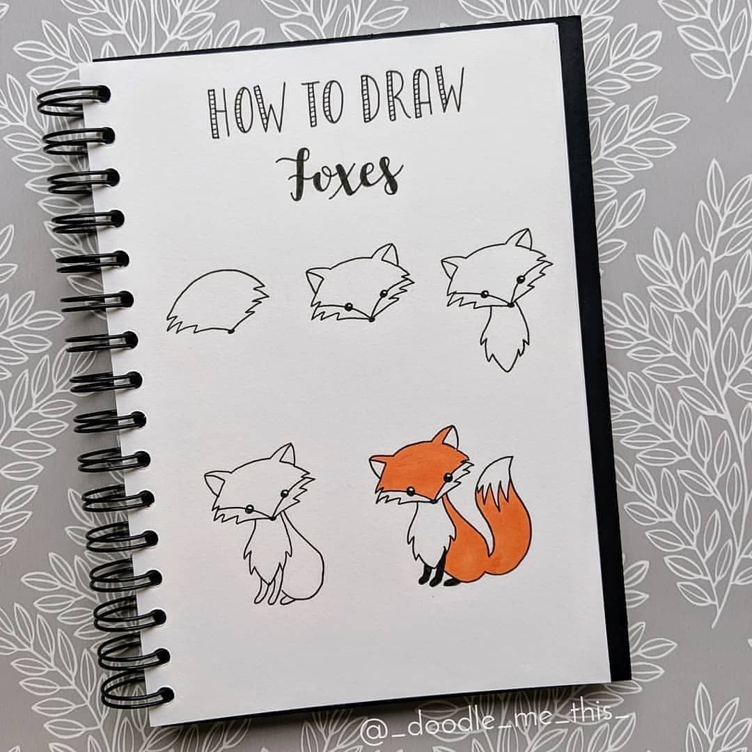 "Bullet Journal 💕 on Instagram: ""What the FOX this is so cute! Doodle step by step from @_doodle_me_this_ 💕 - Follow @moody.oasis for more inspiration! Would love to know…"""