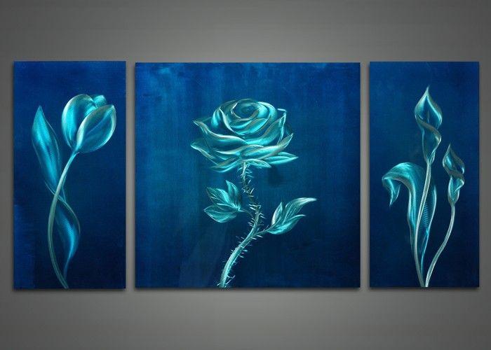 Blue Flower Metal Wall Art Painting 48x24in | Fabu Art Painting