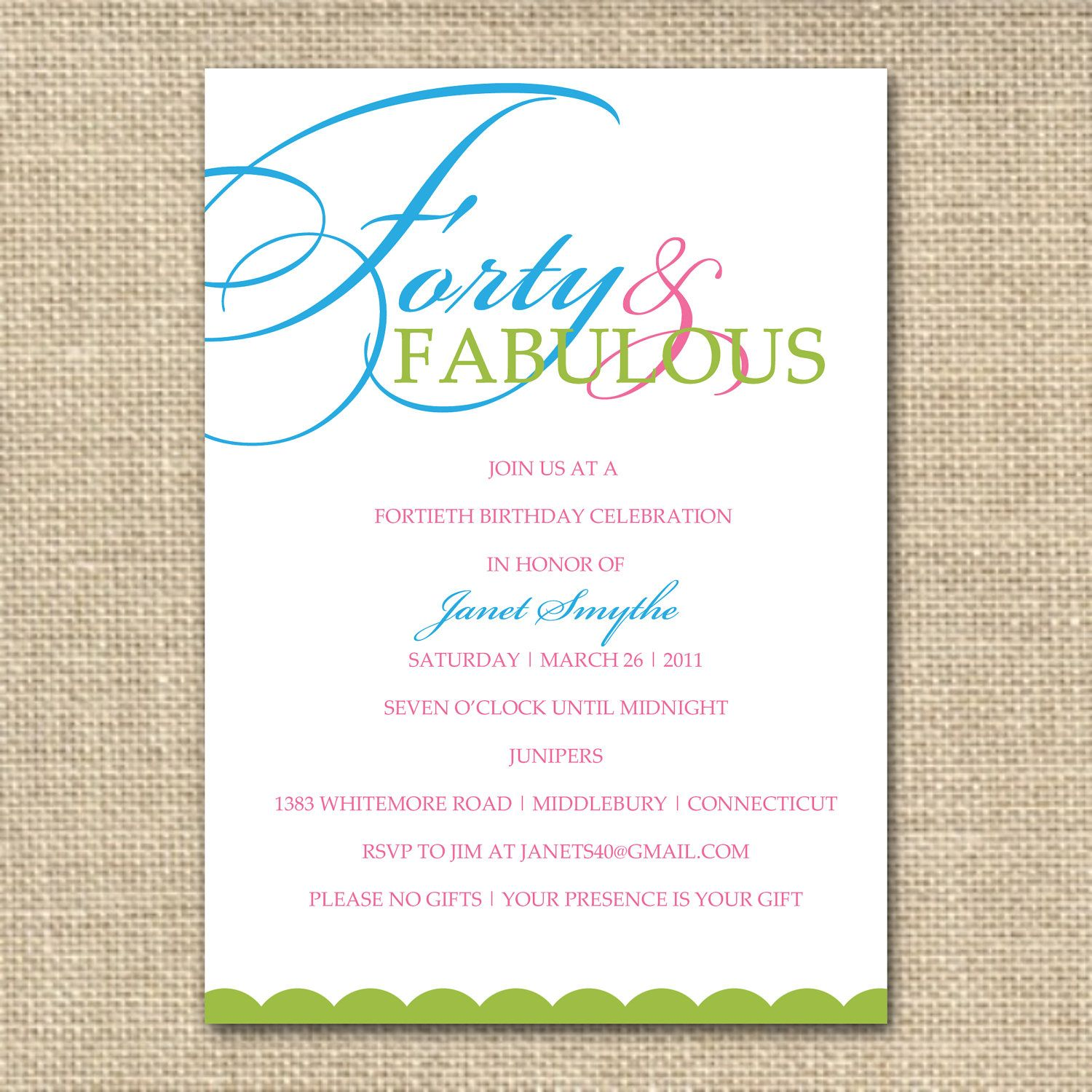 40th birthday invitation forty and fabulous printable digital 40th birthday invitation forty and fabulous printable digital file 1500 via etsy stopboris Choice Image