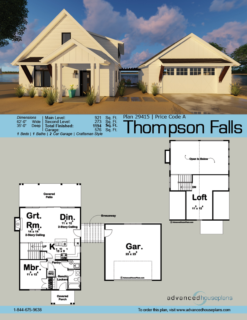thompson falls modern cottage breezeway and car garage 29415 thompson falls this 1 5 story modern cottage cabin plan is highlighted by a